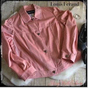 "Louis Feraud Red White Microstripe ""Denim"" Jacket"